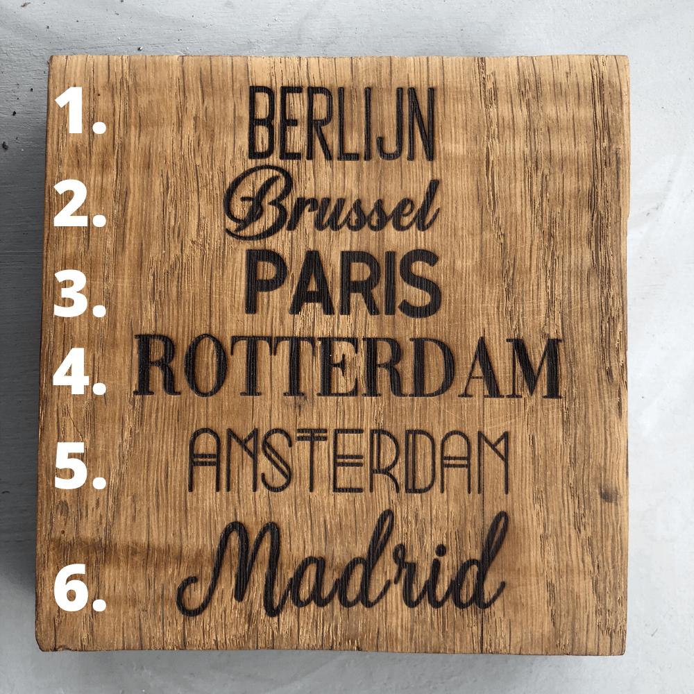 Gebrand in hout, leuke lettertypes gegraveerd