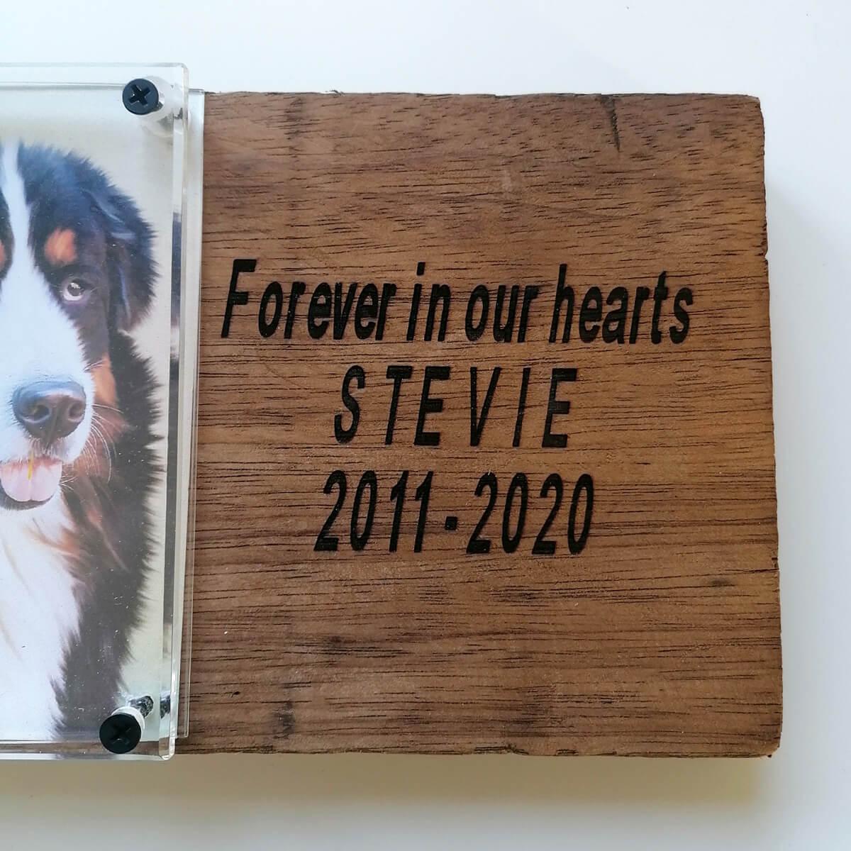 Gedenkplaat met foto en tekst van je overleden huisdier