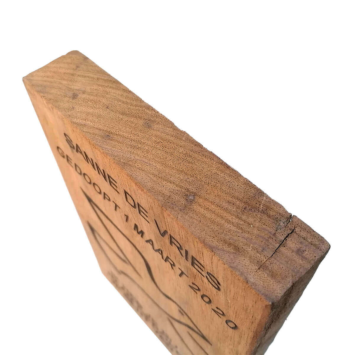 Christelijke doopbord van vintage robuust douglas hout, kan staan en hangen