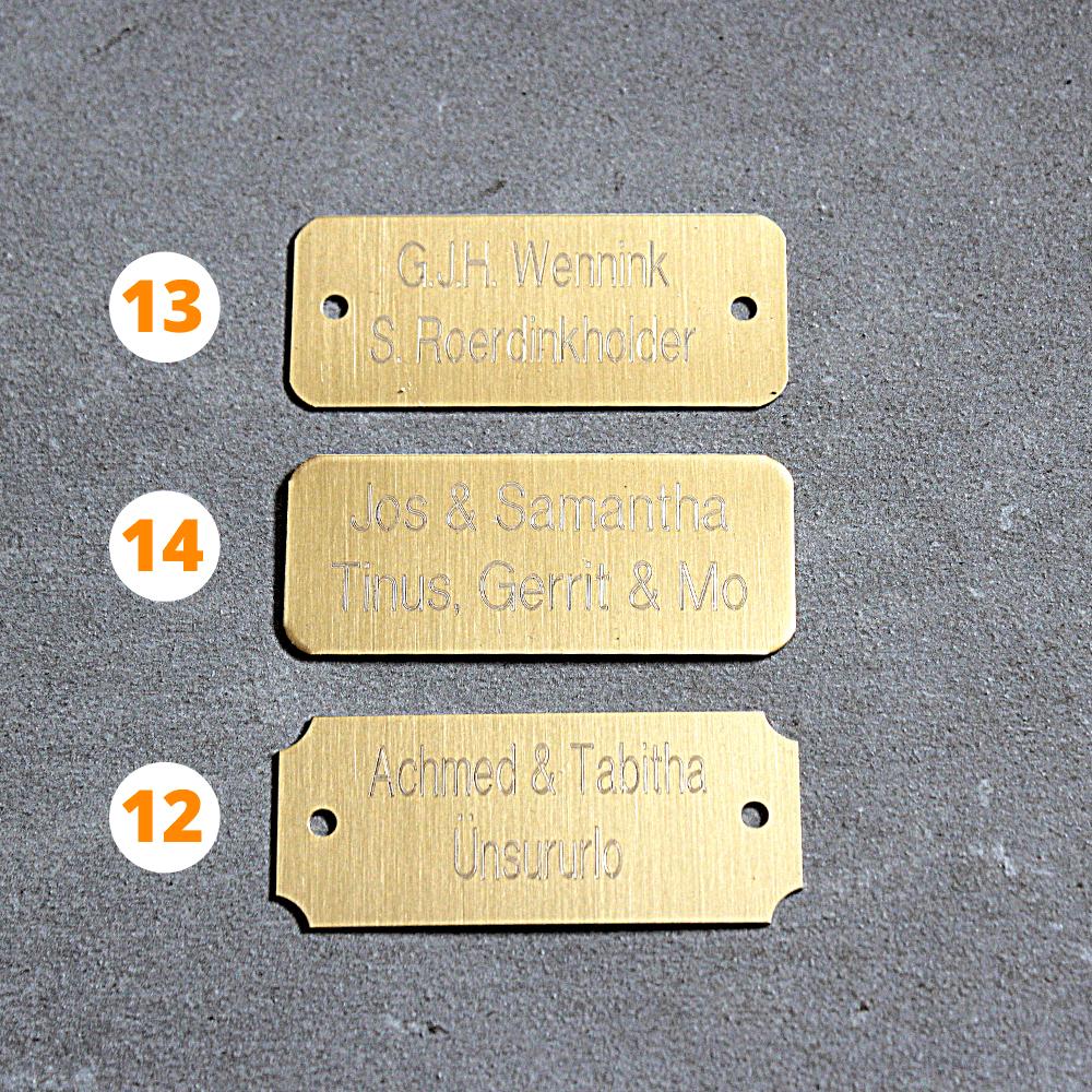 Metalen labels met gratis gravering of bedrukking