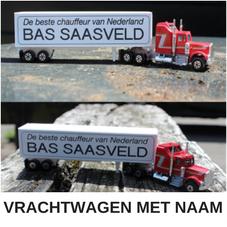 Vrachtwagen met persoonlijke boodschap