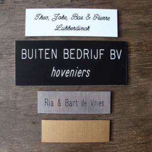 Deur naamplaat met tekst