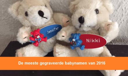De meeste gegraveerde babynamen van 2016